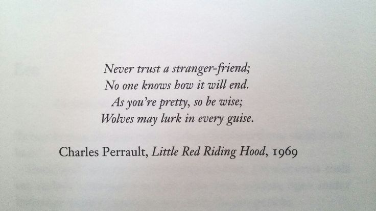 """As you're pretty, so be wise; Wolves may lurk in every guise"" -Little Red Riding Hood, 1969."