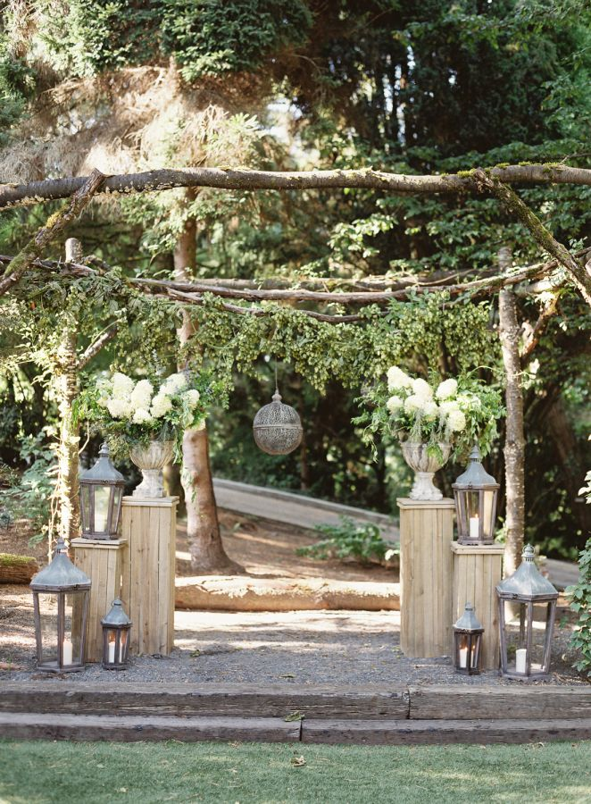 Rustic wedding ceremony: http://www.stylemepretty.com/2017/01/12/why-shades-of-gray-will-never-go-out-of-style/ Photography: O'Malley Photographers - http://omalleyphotographers.com/