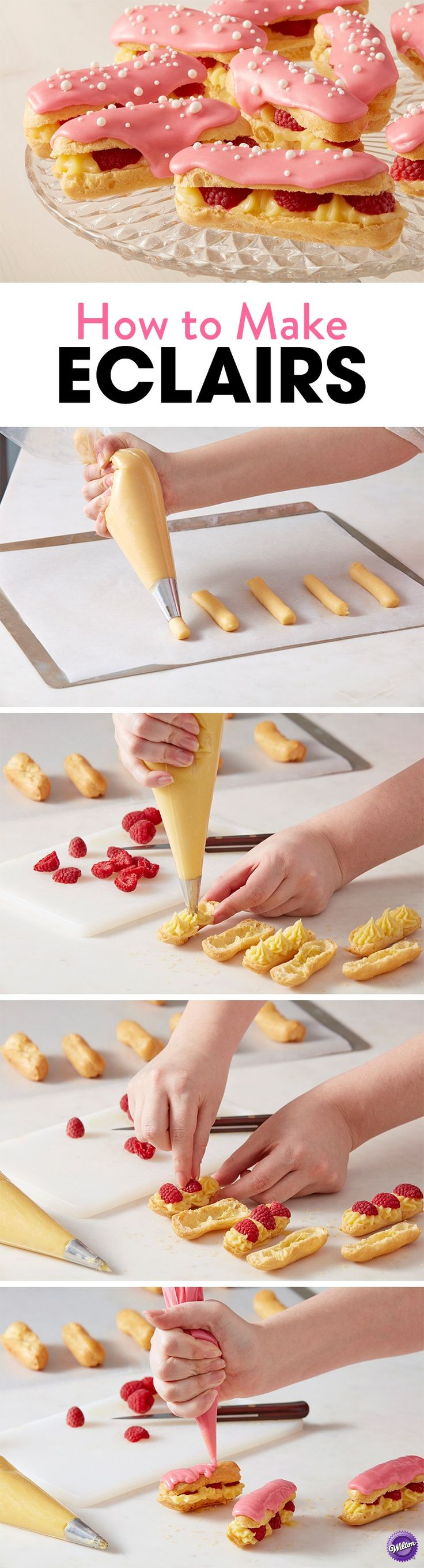 How to Make Eclairs - Learn how to make these tasty White Chocolate Raspberry Eclairs that are perfect for an Easter brunch or a springtime soiree are sure to impress. Top your éclairs with a fresh raspberry glaze for an added touch of sweetness. Makes about 30 eclairs.