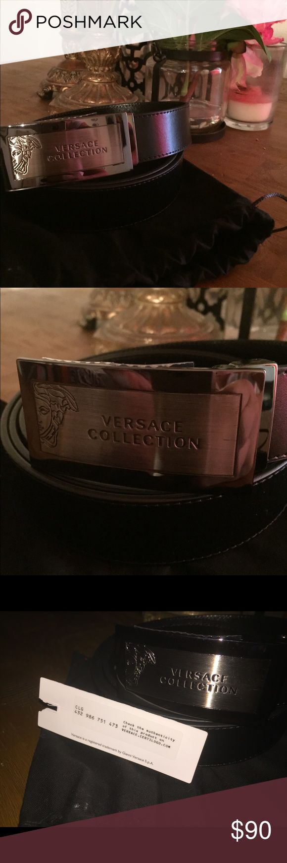 Versace collection men's belt Brand new Versace men's belt with authenticity card has two small bumps but never worn can fit men with size 40 and up waist still has the sticker cover so no scratches Versace Collection Accessories Belts