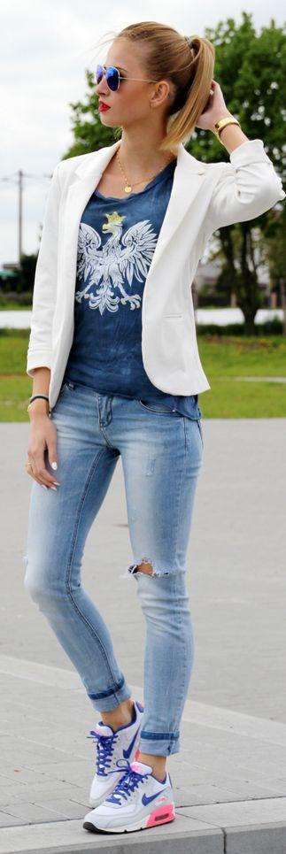 Robert Kupisz Blue And White Eagle Print Tshirt by Beauty - Fashion - Shopping