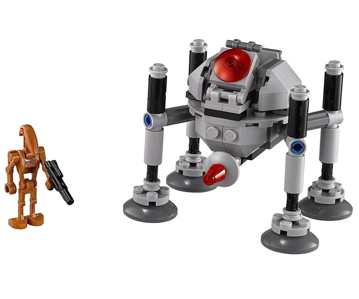 Con el Lego Star Wars Homing Spider Droir Navegaras por el planeta Geonosis en este micro luchador viene en forma de araña