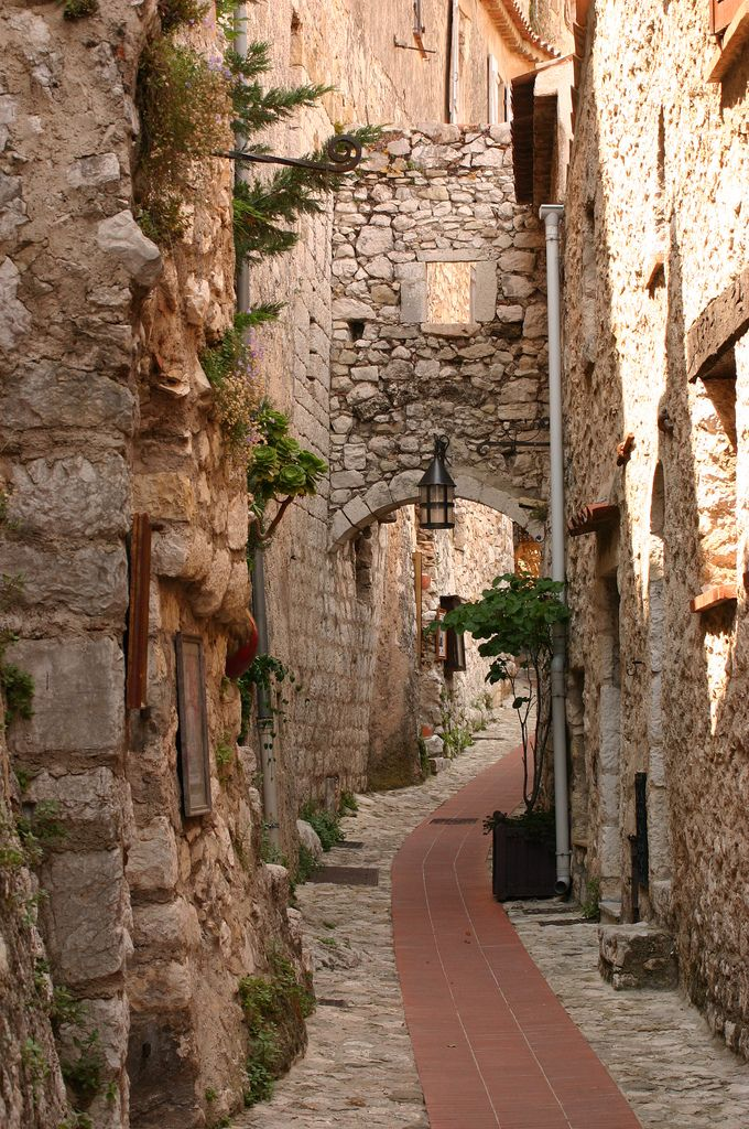 The beginning of the walk up to the restaurant,Eze, Cote d'Azur, France  Quiet street in Eze *** By Alaskan Dude