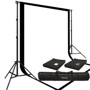Two Prism 10x20' 100% Cotton Muslin Backdrops and The Ravelli Full Size 10x12' Background Stand Set