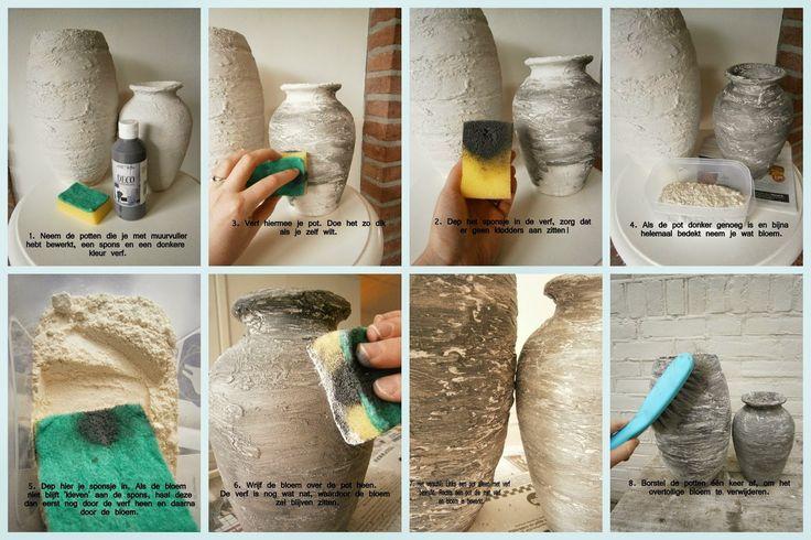 Potten met muurvuller bewerken is niet zo moeilijk, maar hoe geef je ze nu die betonlook?! Hier lees je er alles over