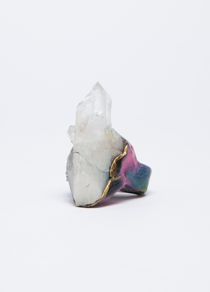 This quartz ring by Adina Mills features pink details around the band. One-of-a-kind and handmade in Los Angeles.