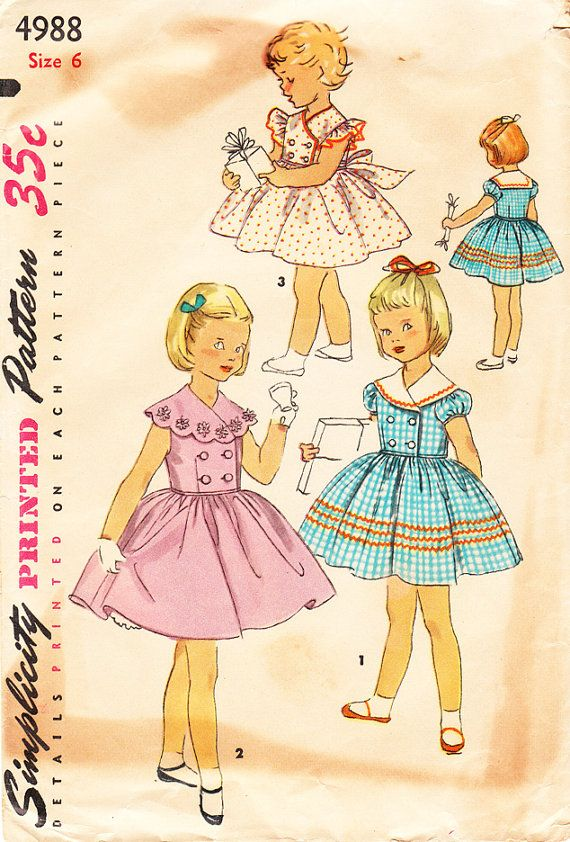 Vintage 1950s Double-Breasted Bouffant Dress with Optional Collar for Girls, Toddlers, and Babies - Simplicity Sewing Pattern 4988 - Size 6