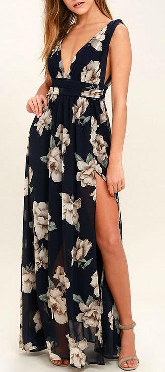 631407eedb Garden Meandering Navy Blue Floral Print Maxi Dress