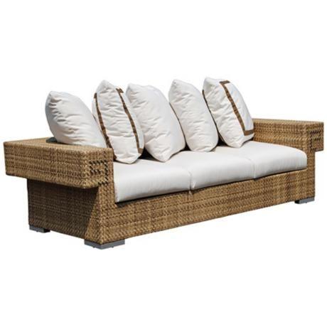 Dann Foley Hollywood Natural Wicker Outdoor Sofa