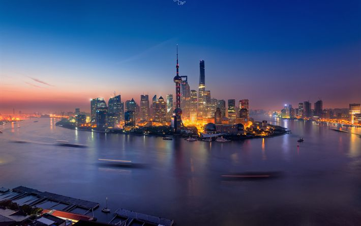 Download wallpapers Shanghai, modern buildings, nightscapes, Asia, China