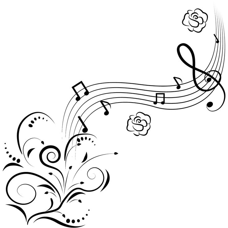 music notes clip art | Music Notes Flowers Wall Art Decals Wall Stickers Transfers