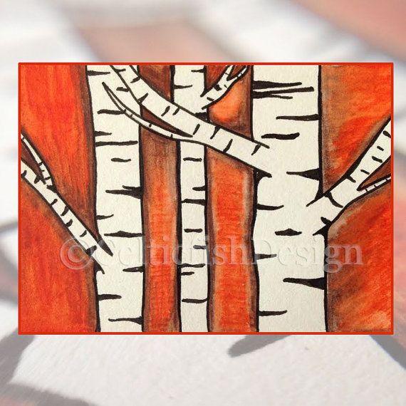 Shop for original art!  Autumn Birches.  Original art watercolor pencils and ink. ACEO.
