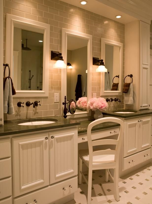 See the olive green granite countertops and neutral subway tiles that make up this traditional white bathroom on HGTV.com.