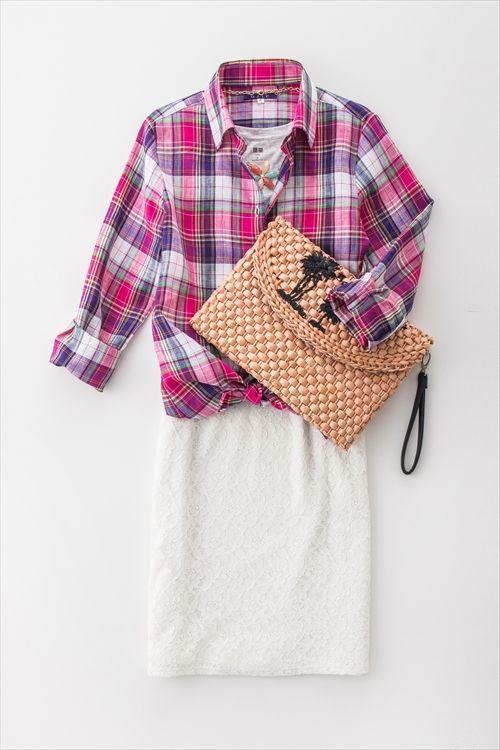 軽やかな素材感のリネンシャツ!鮮やかプリティーなピンクチェック。 レディースシャツのコーディネート レディースファッション Ladies shirts fashion coordinate