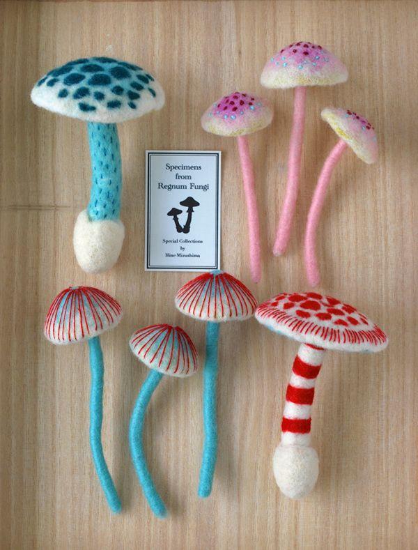 Needle-felted Mushrooms by Hine Mizushima, via Behance