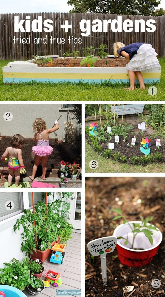 Great tips for building a kids' veggie garden no matter what you're working with.