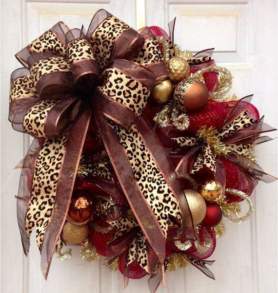 Burgundy And Christmas Gold Black Wreaths