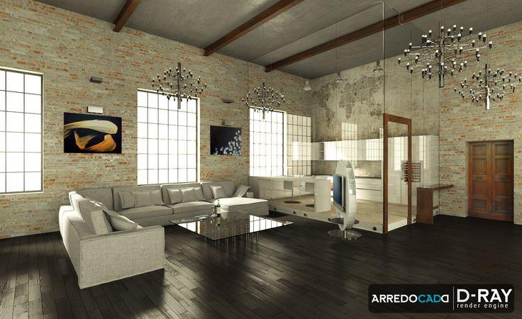 Loft con zona studio in vetro