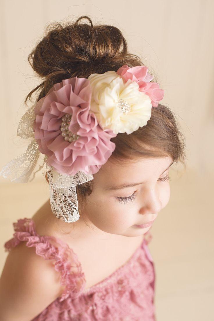 Flower Lace Headband - Mauve