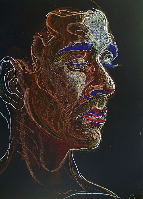 Fred Hatt - Rafael - cool....pastels and pastel pencils on black paper!