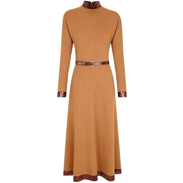 The 2nd Skin Co Sequin-trimmed Midi Wool Dress (3.610 DKK) ❤ liked on Polyvore featuring dresses, camel, long midi skirt, beige cocktail dress, midi cocktail dress, draped dress and sequined dresses