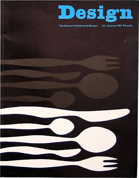 A great magazine cover that uses very odd shapes. However, despite the distortions of the shapes, we can all still recognize them as being eating utensils.