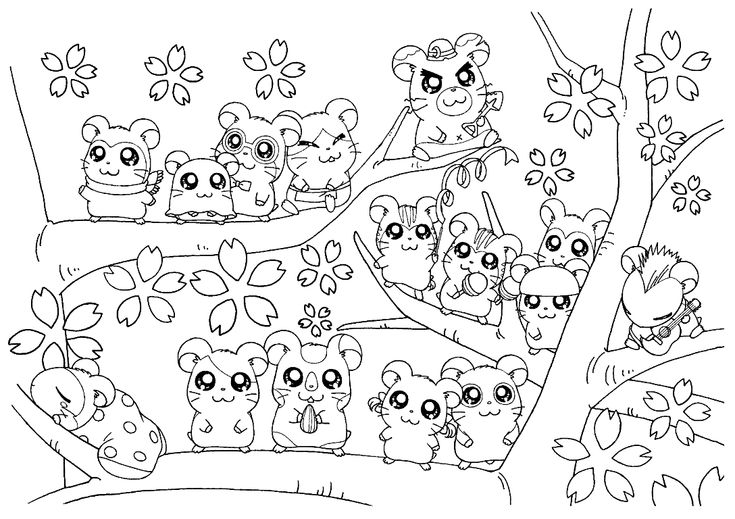 All hamsters on a tree coloring page hamtaro pinterest for Hamster coloring pages to print