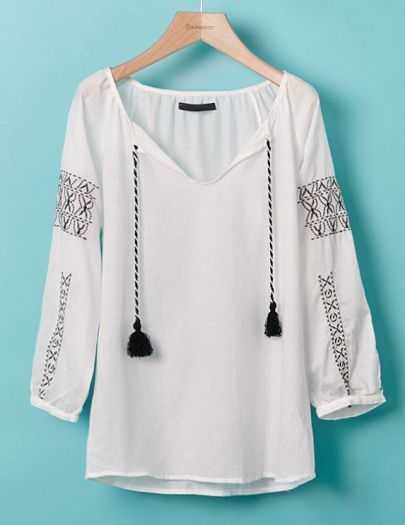 White Long Sleeve V Neck Drawstring Embroidery Blouse pictures