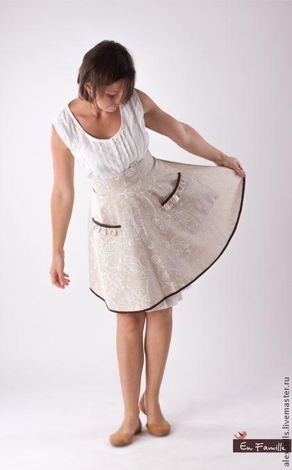 Передник кухонный - бежевый,фартук,фартук-юбка,фартук для кухни,передник