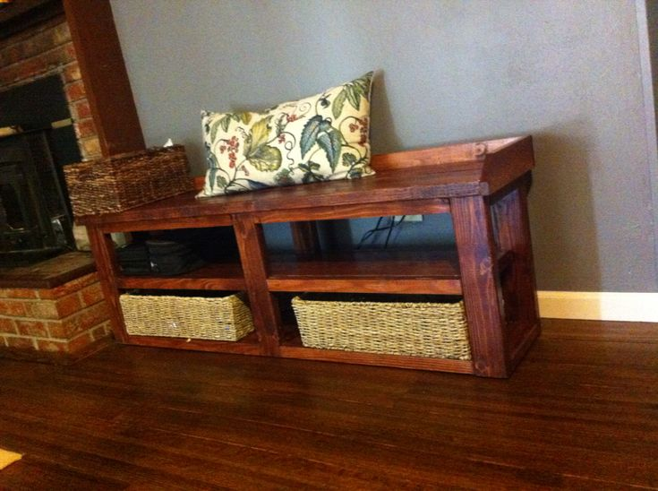 Media Storage Rustic Bench | Do It Yourself Home Projects from Ana White