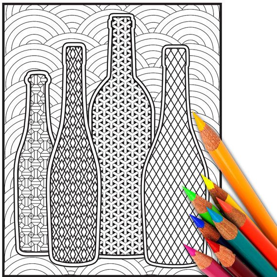 coloring page wine theme for adult relaxation by bowwowcreative - Coloring Book Paper Stock