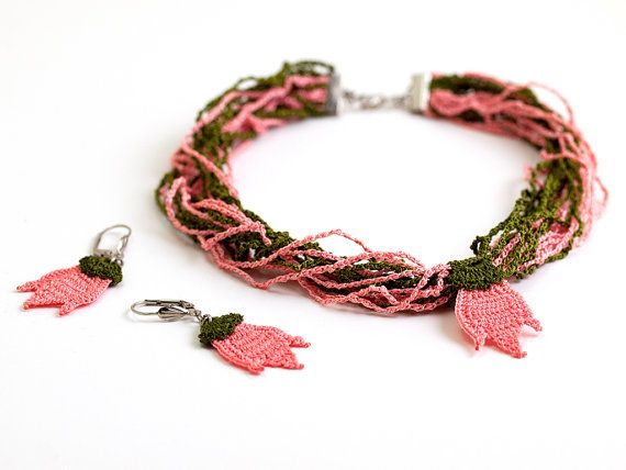 Crochet Lace Tulip  Pendant Necklace and Earrings by PinaraDesign
