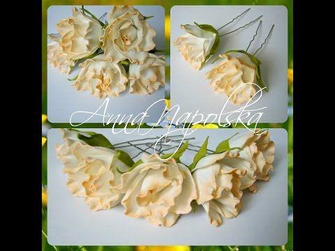 Троянди на шпильках. Розочки из фоамирана на шпильке для нарядной прически - YouTube