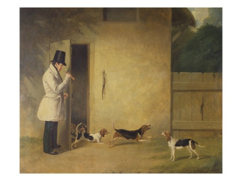 Entry-A Beagler Standing at the Door of the Kennels Calling Out the Beagles Giclee Print