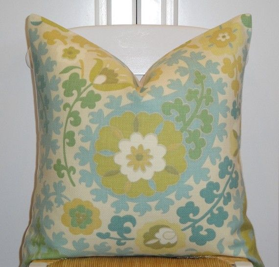 """Multi-Color Floral Pillow Cover 20"""" x 20"""" $45: Beautiful Decor, Bedrooms Redo, Pillows Passion, Floral Pillows, Decorative Pillows, Decor Pillows Covers, Kitchen Windows, Decorative Pillow Covers, Color Matching"""