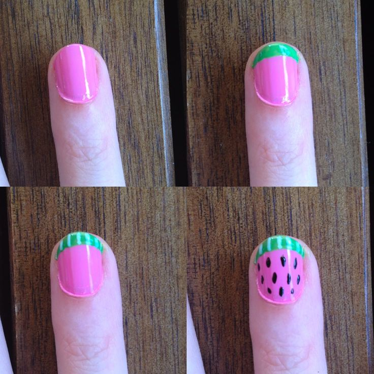"WATERMELON NAILS TUTORIAL:  1. Start with dry, pink nails 2. Paint a bright green french tip 3. Make black dots and gently ""pull"" them into a teardrop shape 4. Paing pale green squiggles on the tip 5. (OPTIONAL) finish the tip with a white line. Add top coat when dry  #VeetSmooth"