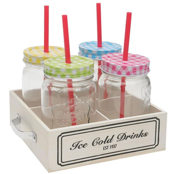 Excellent Housewaer | Excellent Houseware  Mason Jar with Straw 4 Pack | Mason Jars