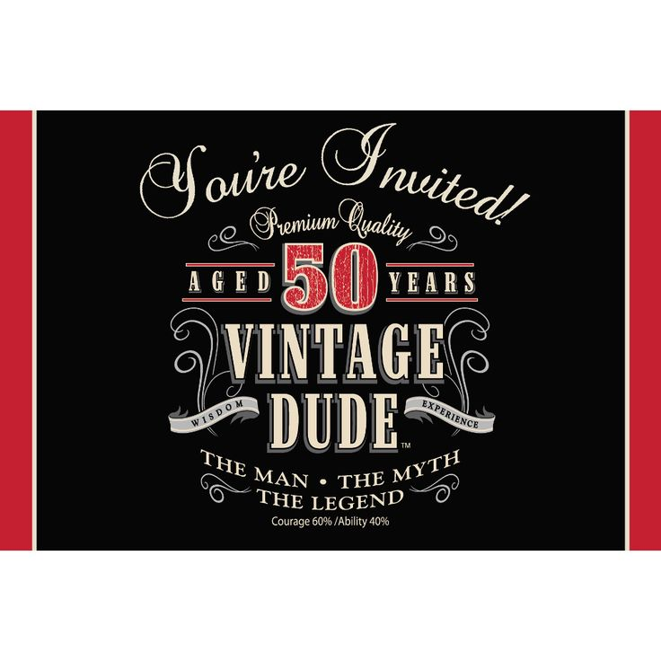 9 best 50. geburtstag - vintage dude! images on pinterest | 40th, Einladung