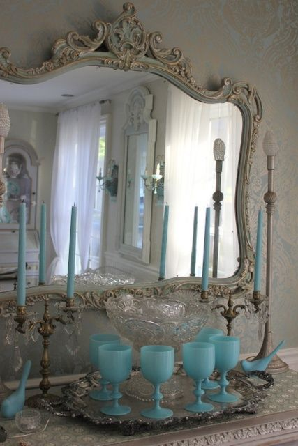 opalineDecor, Bathroom Mirrors, Vintage Mirrors, Shabby Chic, French Blue, Accent Colors, Aqua, Vintage Life, Mirrors Mirrors
