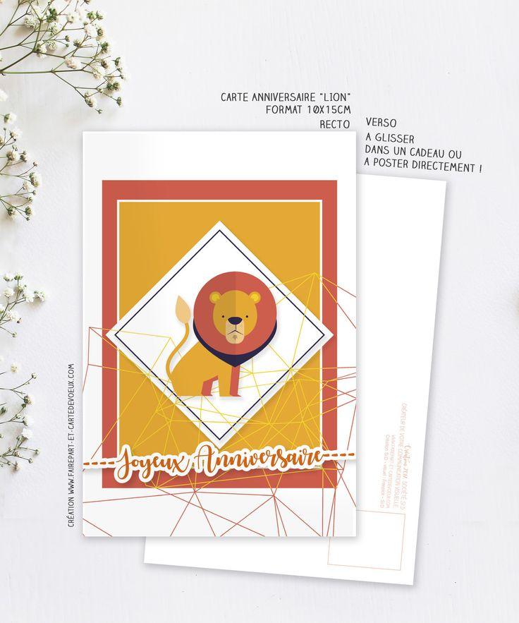 Carte d'anniversaire Lion - Carte postale illustration - Carte Joyeux anniversaire Enfant et Adulte : Cartes par fairepart-et-cartedevoeux