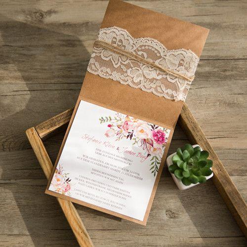 Günstige Einladungskarten Hochzeit Online  Optimalkarten Kraftpapier  Hochzeitseinladung Mit Spitzen Und Jute Band   Papiersorte: Kraftpapier  Farbe Der ...