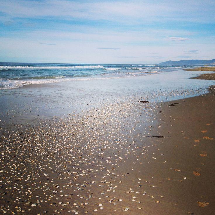 Morning beach walk up to Dark Hollow, only my footprints in the sand! East Coast Tasmania, Beaumaris Beach Pad http://www.beaumarisbeachpad.com.au/