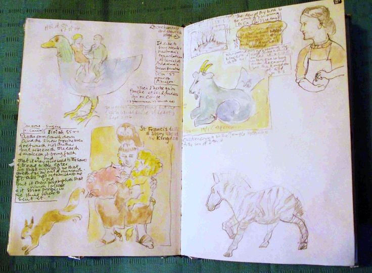 St Francis tells the beasts a story amongst sketch book chaos [Philip Weaver]