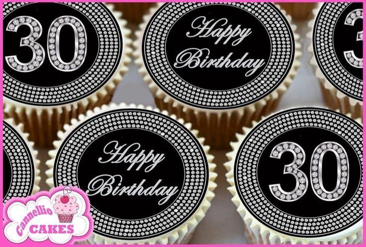Details about 24 x 30th happy birthday black diamond