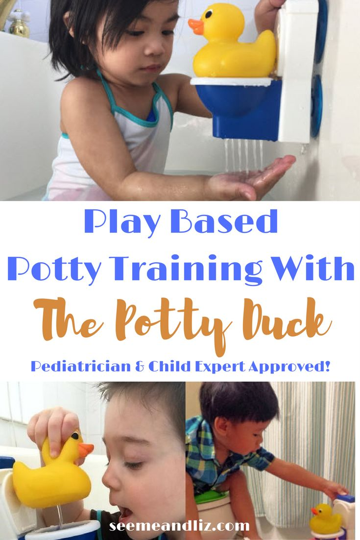 "Play Based Potty Training with The Potty Duck. Developed by a pediatrician! Find out why this ""toy"" is one of a kind and really works! {sponsored content} #pretendplay #pottytraining #toilettraining"