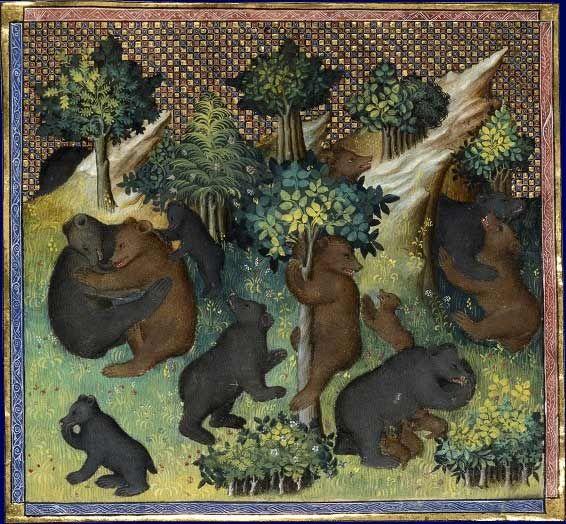 De l'ours et de toute sa nature    Gaston Phébus, Livre de chasse  France, début du XVe siècle  Paris, BNF, département des Manuscrits, Français 616, fol. 27v.