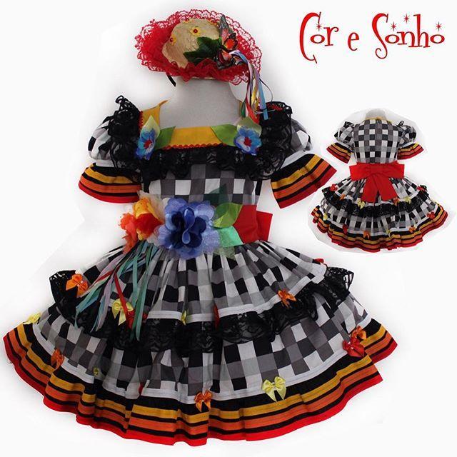 Festa Junina linda. Encomendar por WhatsApp 31 991329950 #fantasiainfantil #festajunina #junina #coresonho