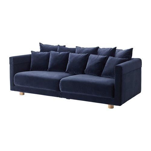 IKEA - STOCKHOLM 2017, Sofa, Sandbacka dark blue, , Velvet is a soft, luxurious fabric that is resistant to abrasion and easy to clean using the soft brush attachment on your vacuum.The seat and back cushions provide comfortable support for your body and easily regain their shape because they're filled with high resilience foam and polyester fibers.You can turn the back cushions so they wear evenly and last longer, as they're reversible and have the same fabric on both sides.It's easy to…