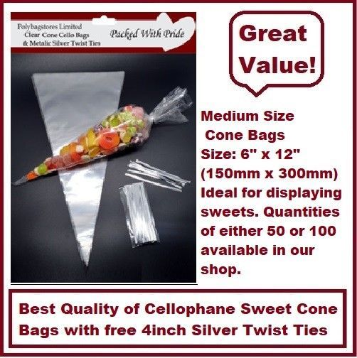CLEAR - MEDIUM SIZE - 16cm x 30cm Cellophane Cone Sweet Bags - Party Bags   eBay