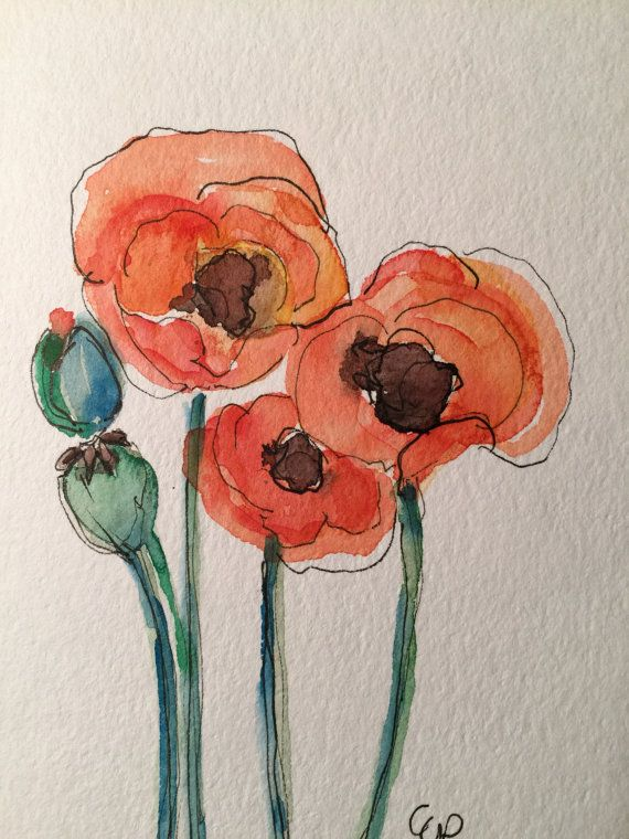 Orange Poppies Watercolor Card / Hand Painted by gardenblooms